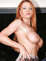 Gorgeous Anilos cougar slides off her white panty and shows off her pink cunt from the back